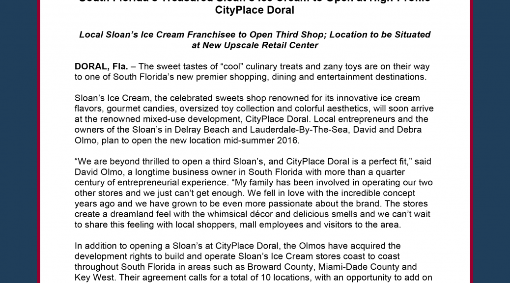 South Floridas Treasured Sloans Ice Cream To Open At High Profile