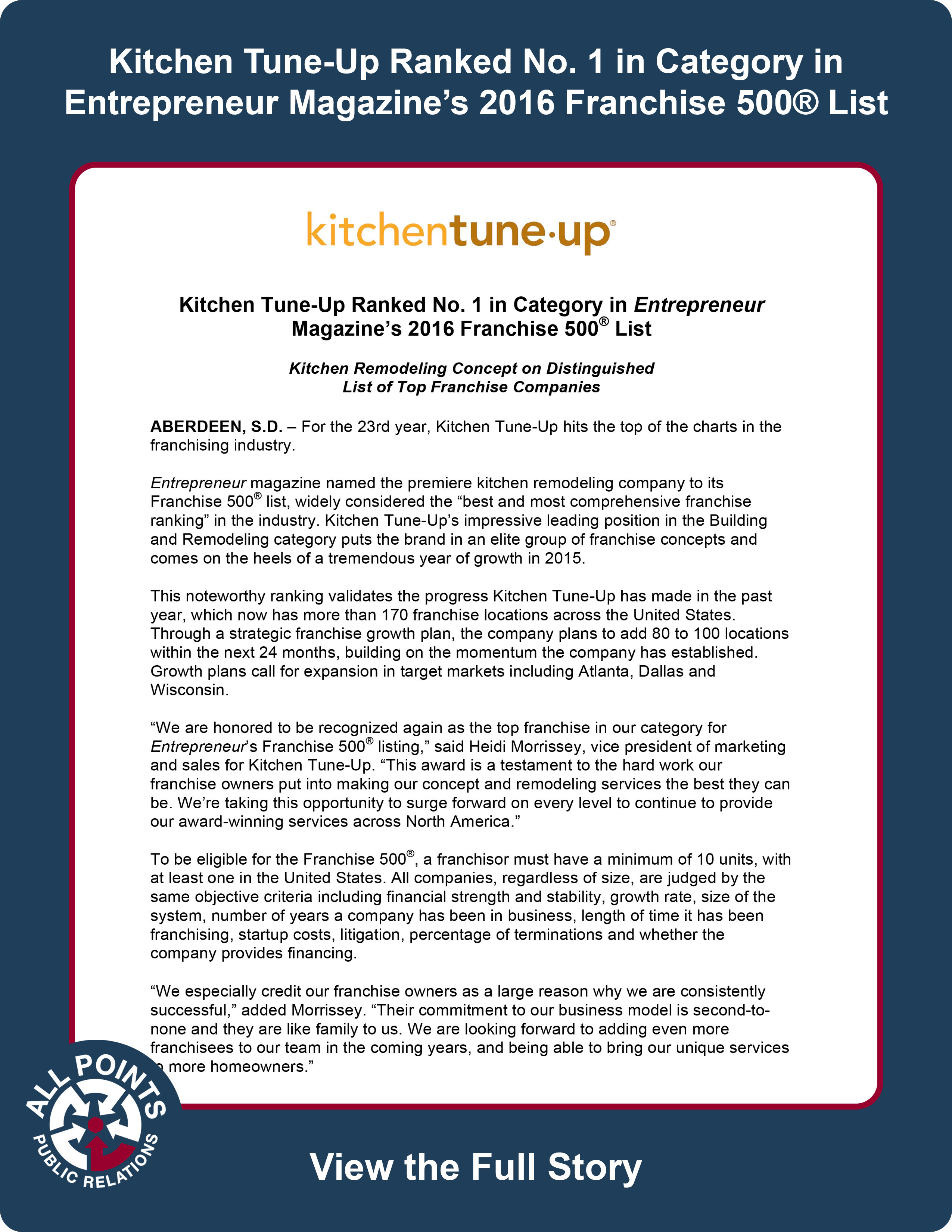 Kitchen Tune-Up | All Points Public Relations