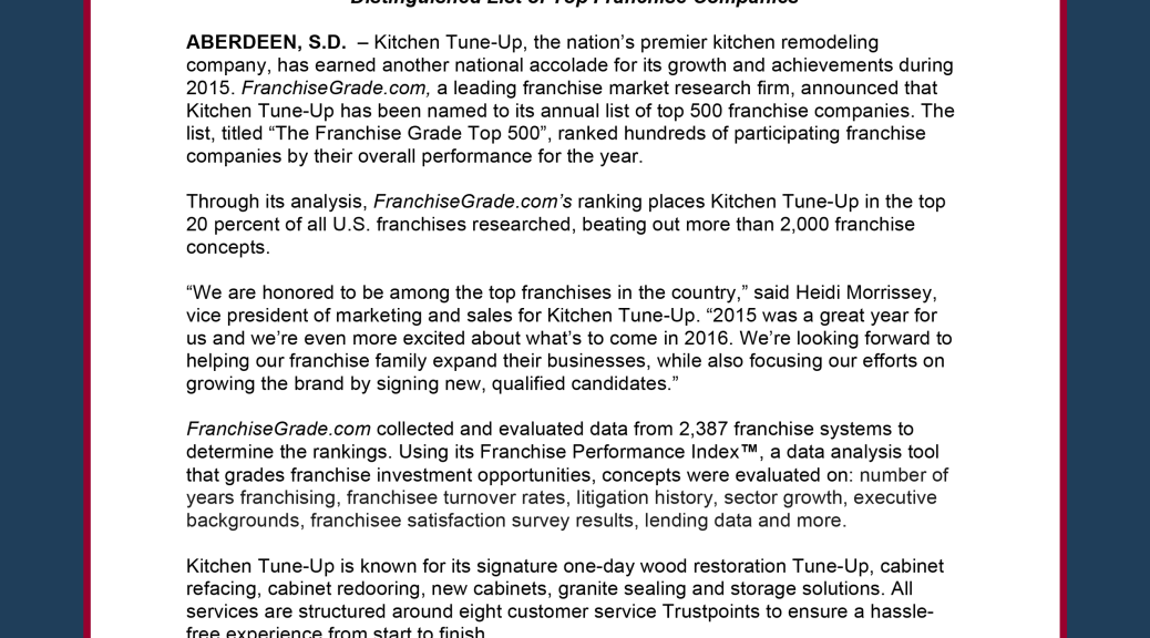 Kitchen Tune Up Named To FranchiseGrade.comu0027s Top 500 List