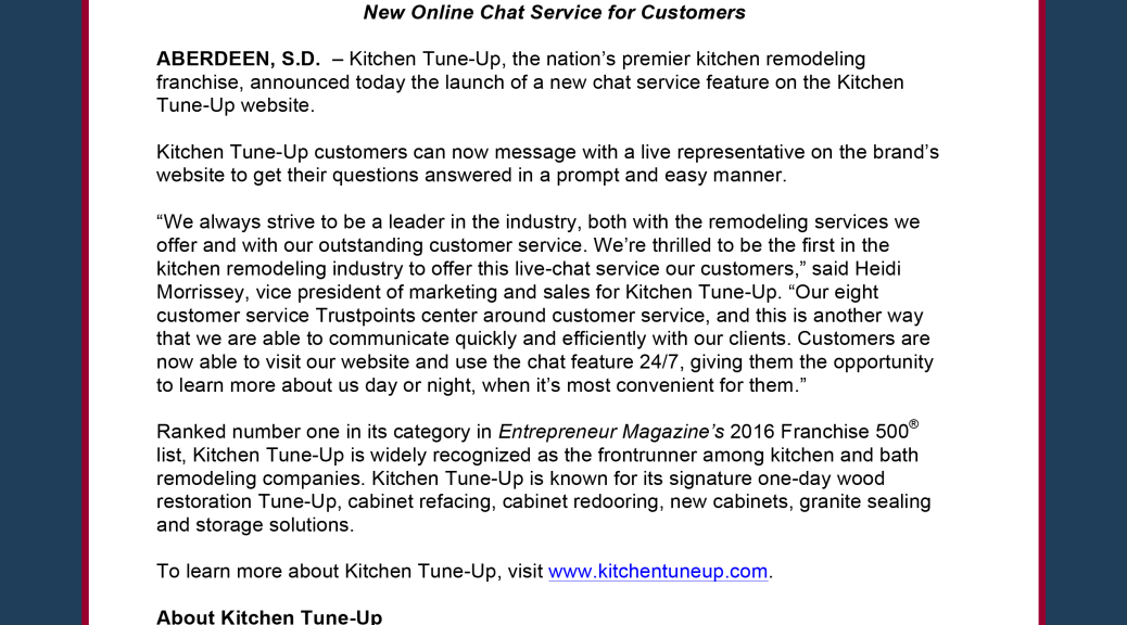 Kitchen Tune Up Debuts New Customer Service Feature