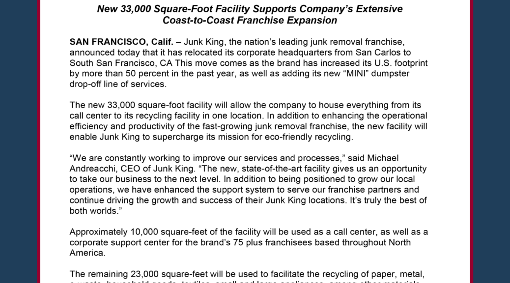 Junk King Moves Headquarters to South San Francisco
