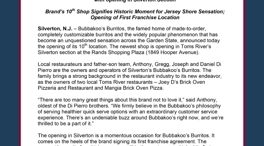 Bubbakoos Burritos Set To Open In Toms River All Points Public