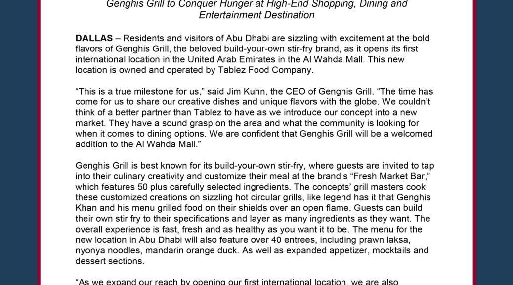 Genghis Grill Goes International Abu Dhabi Welcomes First Location