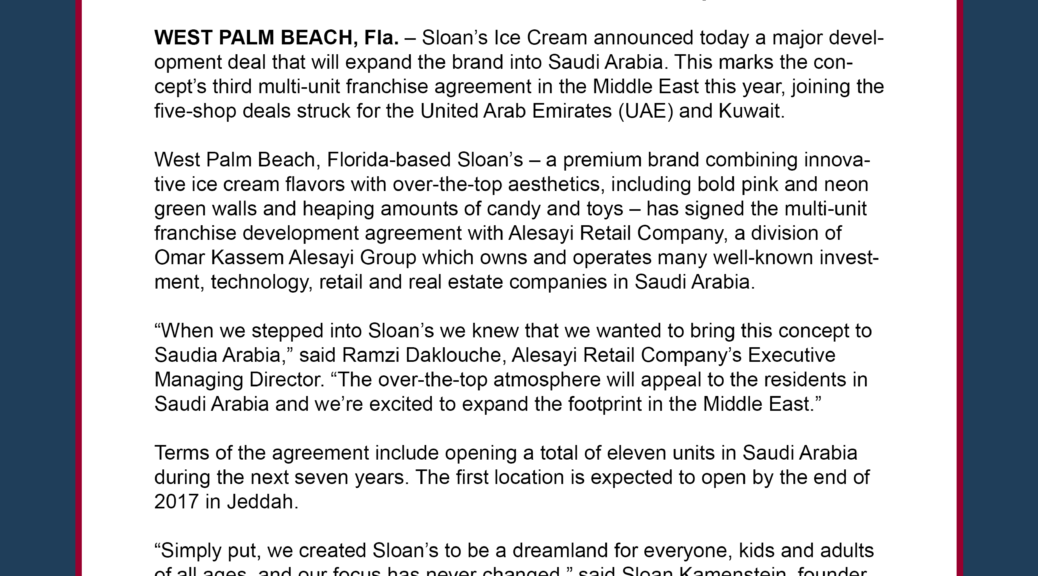 Saudi Retail Giant To Open 11 Sloans Ice Cream Franchised Shops