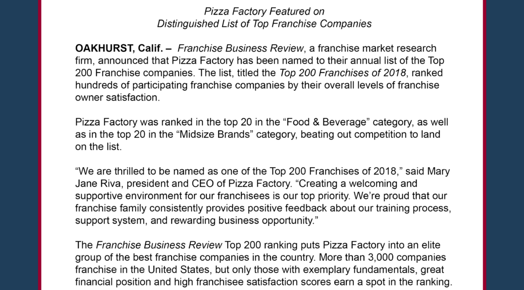 Pizza Factory Named Best of the Best by Franchise Business Review