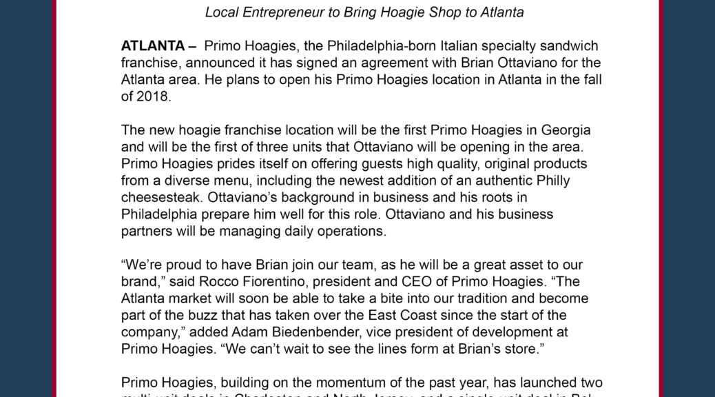 Primo Hoagies Signs Agreement To Open New Locations In Atlanta All