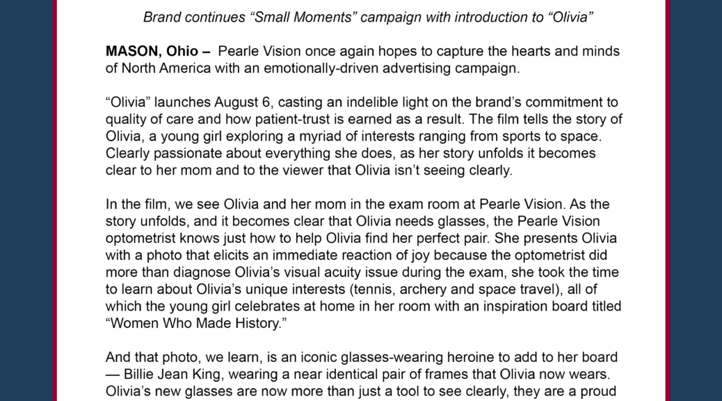 Pearle Vision Features Tennis Legend And Cultural Icon Billie Jean King In Latest Campaign